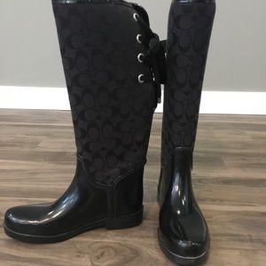 COACH Lace Up Rain Boots - Size 9